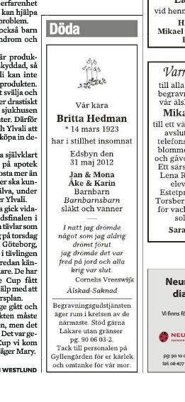 Britta Hedmans dödsannons